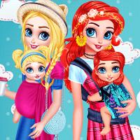 Принцессы ухаживают за детьми