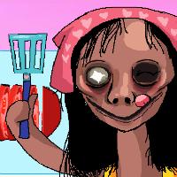 Момо готовит еду