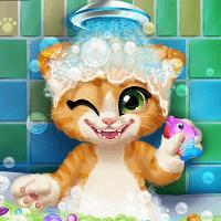 Ванна для рыжего котенка