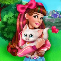 Виктория ухаживает за котенком