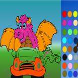 Раскраска Дракон на машине