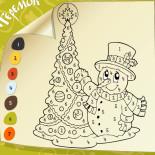 Раскраска по цифрам Новый Год со Снеговичком