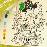 Раскраска с заданием Обезьянка пират