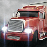 Доставщик красный грузовик